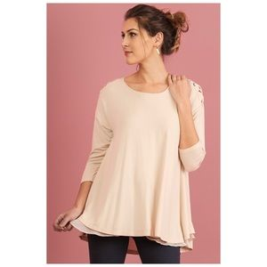 Tops - 3/4 Sleeve Layered Tunic w/ Crisscross Shoulders